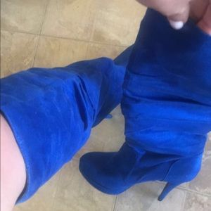 Electric Blue Knee-High Boots